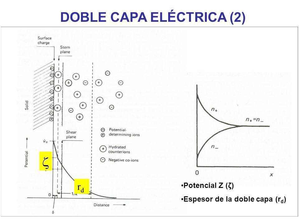 DOBLE CAPA ELÉCTRICA (2) Potencial Z (ζ) Espesor de la doble capa (r d )