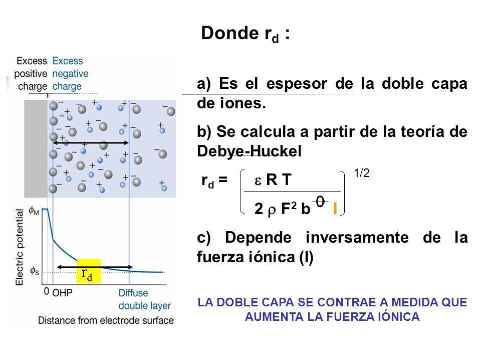 a) Es el espesor de la doble capa de iones. b) Se calcula a partir de la teoría de Debye-Huckel r d = R T 2 F 2 b I c) Depende inversamente de la fuer