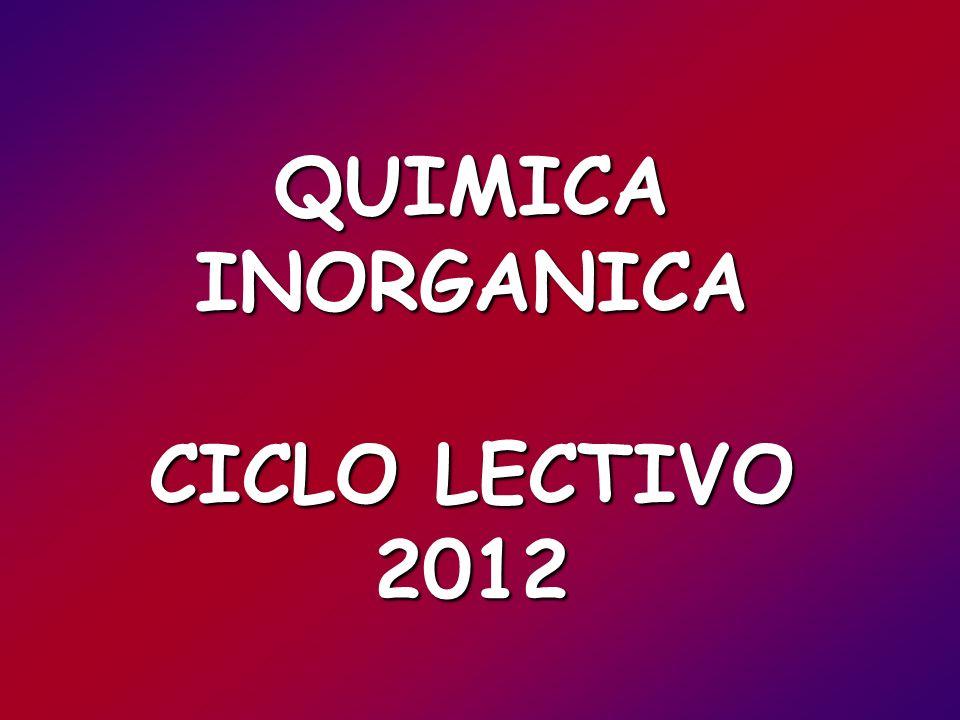 QUIMICA INORGANICA CICLO LECTIVO 2012