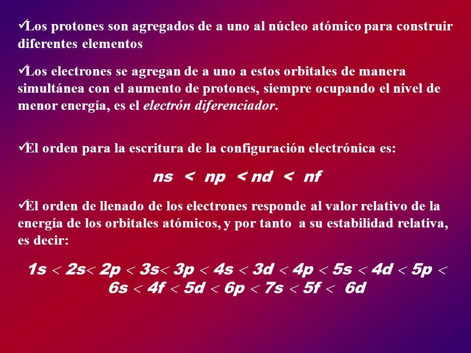 Los protones son agregados de a uno al núcleo atómico para construir diferentes elementos Los electrones se agregan de a uno a estos orbitales de mane