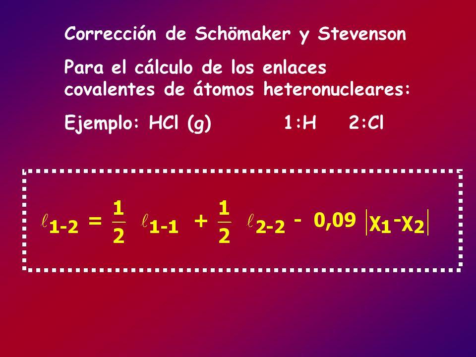 Corrección de Schömaker y Stevenson Para el cálculo de los enlaces covalentes de átomos heteronucleares: Ejemplo: HCl (g) 1:H 2:Cl