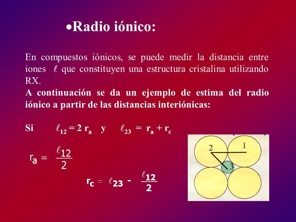 Radio iónico: En compuestos iónicos, se puede medir la distancia entre iones que constituyen una estructura cristalina utilizando RX. A continuación s