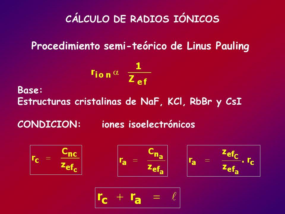 Procedimiento semi-teórico de Linus Pauling CÁLCULO DE RADIOS IÓNICOS Base: Estructuras cristalinas de NaF, KCl, RbBr y CsI CONDICION: iones isoelectr