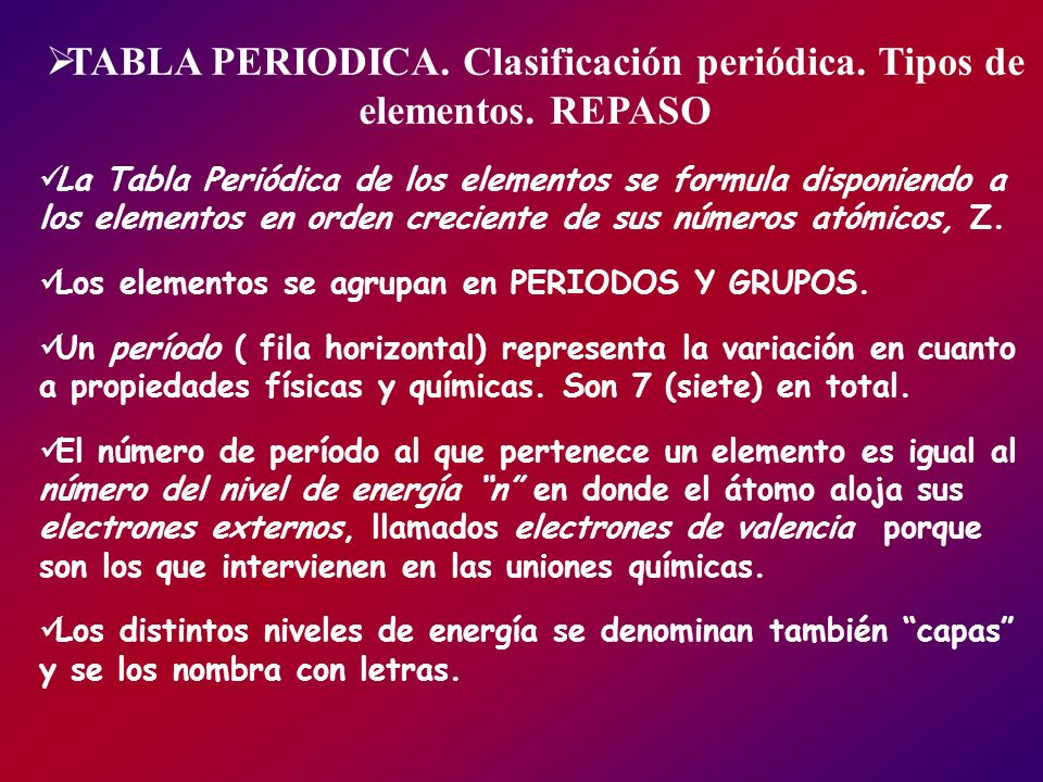 TABLA PERIODICA. Clasificación periódica. Tipos de elementos. REPASO La Tabla Periódica de los elementos se formula disponiendo a los elementos en ord