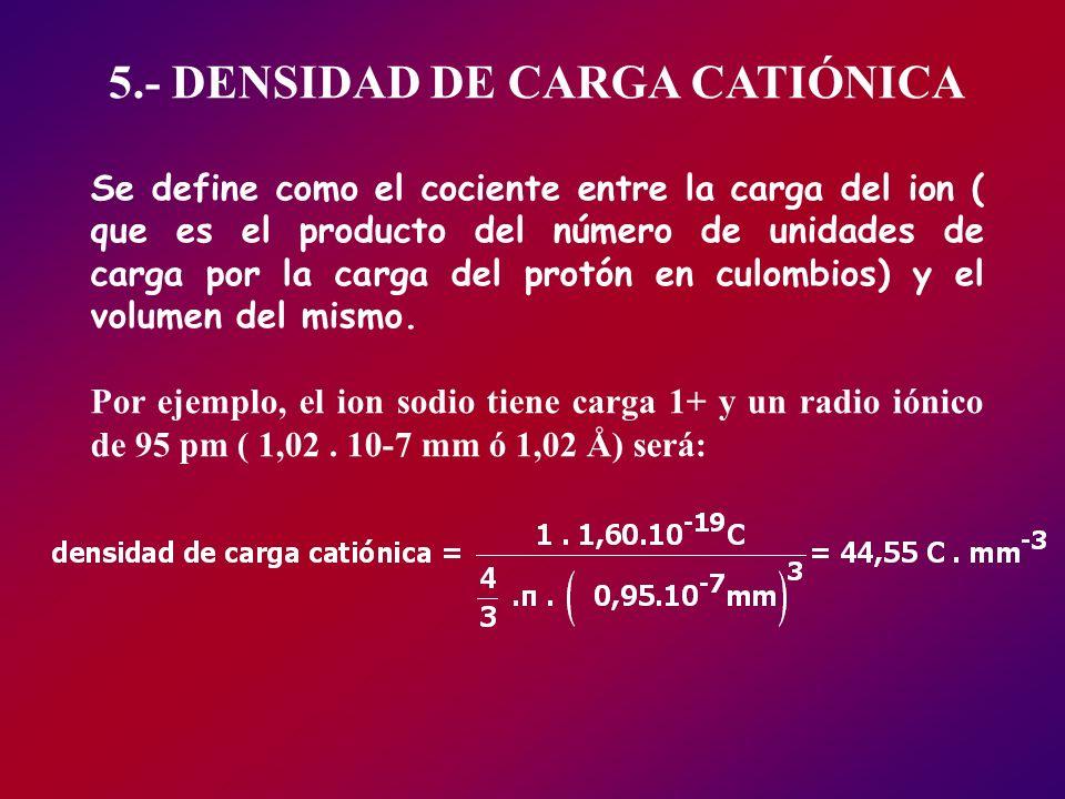 5.- DENSIDAD DE CARGA CATIÓNICA Se define como el cociente entre la carga del ion ( que es el producto del número de unidades de carga por la carga de