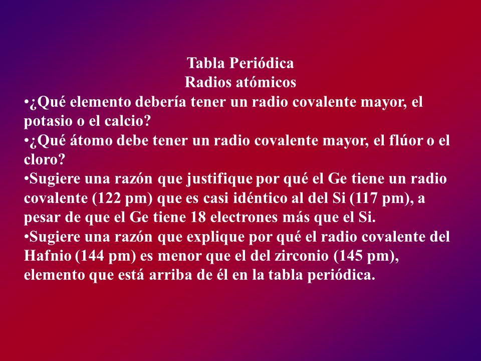 Tabla Periódica Radios atómicos ¿Qué elemento debería tener un radio covalente mayor, el potasio o el calcio? ¿Qué átomo debe tener un radio covalente