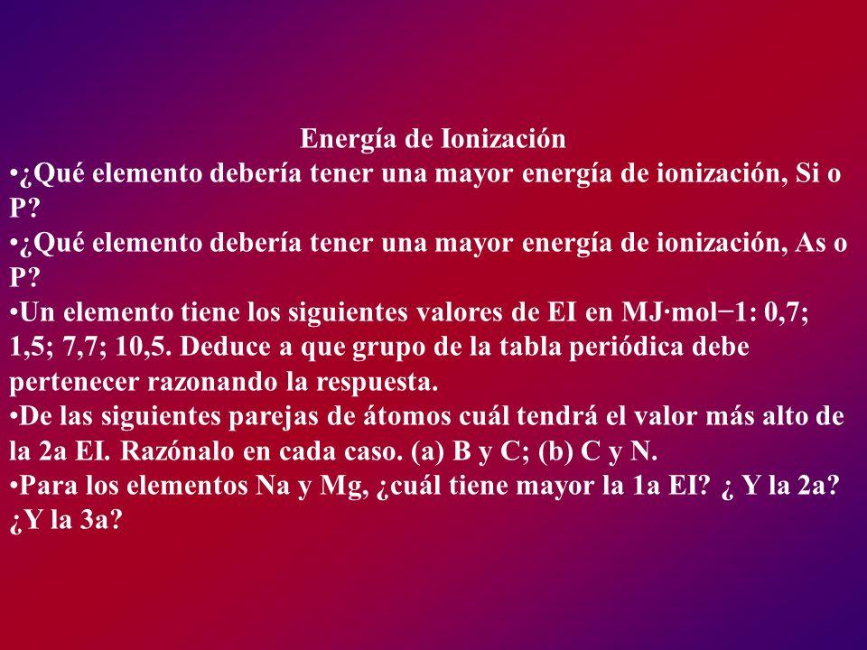 Energía de Ionización ¿Qué elemento debería tener una mayor energía de ionización, Si o P? ¿Qué elemento debería tener una mayor energía de ionización