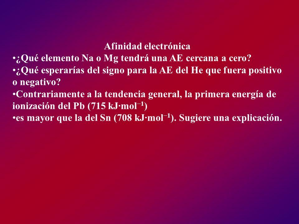 Afinidad electrónica ¿Qué elemento Na o Mg tendrá una AE cercana a cero? ¿Qué esperarías del signo para la AE del He que fuera positivo o negativo? Co
