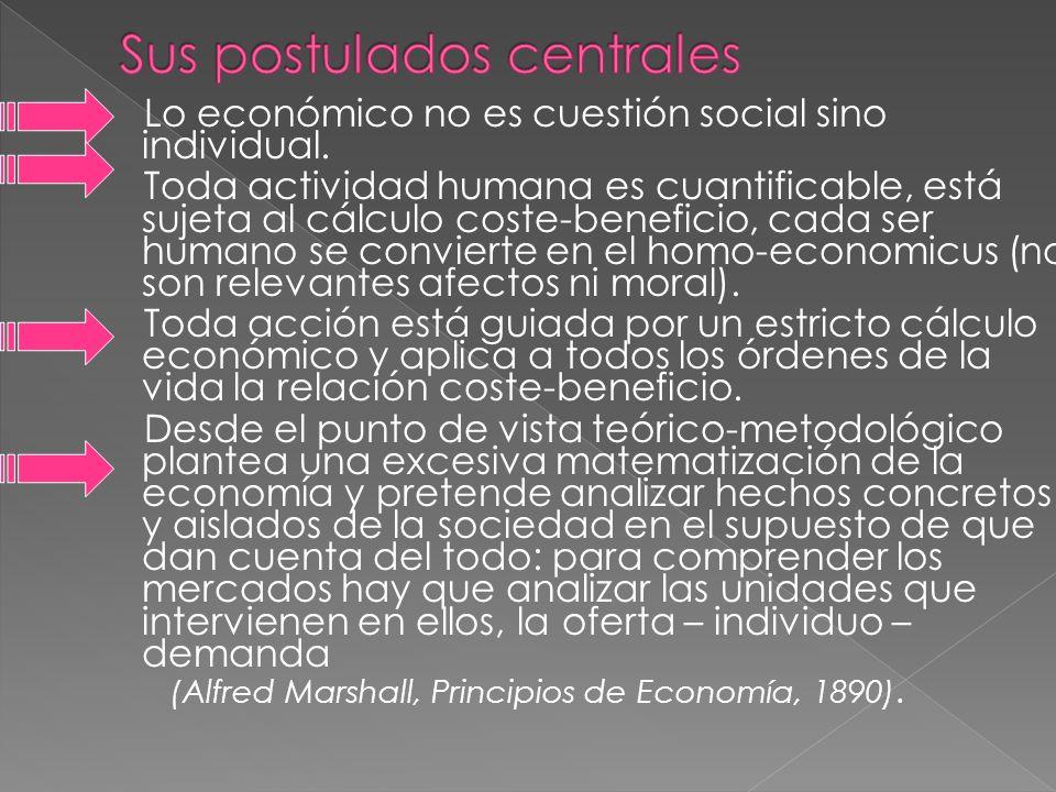 Lo económico no es cuestión social sino individual. Toda actividad humana es cuantificable, está sujeta al cálculo coste-beneficio, cada ser humano se