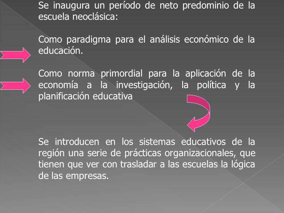 Se inaugura un período de neto predominio de la escuela neoclásica: Como paradigma para el análisis económico de la educación. Como norma primordial p