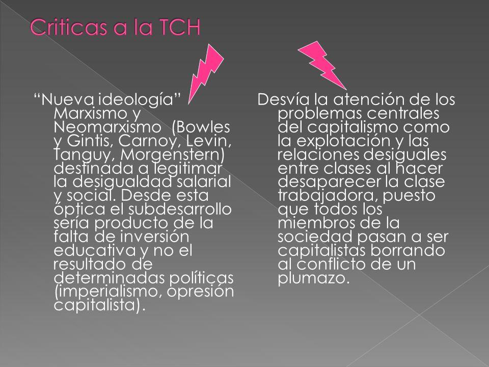 Nueva ideología Marxismo y Neomarxismo (Bowles y Gintis, Carnoy, Levin, Tanguy, Morgenstern) destinada a legitimar la desigualdad salarial y social. D