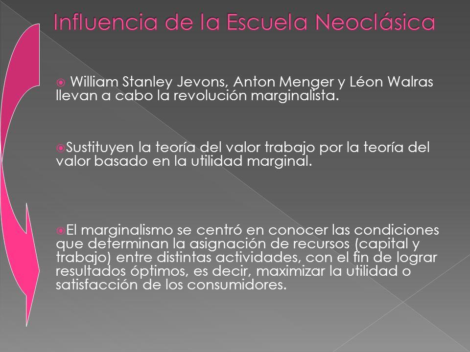 William Stanley Jevons, Anton Menger y Léon Walras llevan a cabo la revolución marginalista. Sustituyen la teoría del valor trabajo por la teoría del