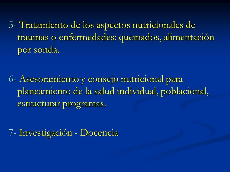5- Tratamiento de los aspectos nutricionales de traumas o enfermedades: quemados, alimentación por sonda. 6- Asesoramiento y consejo nutricional para