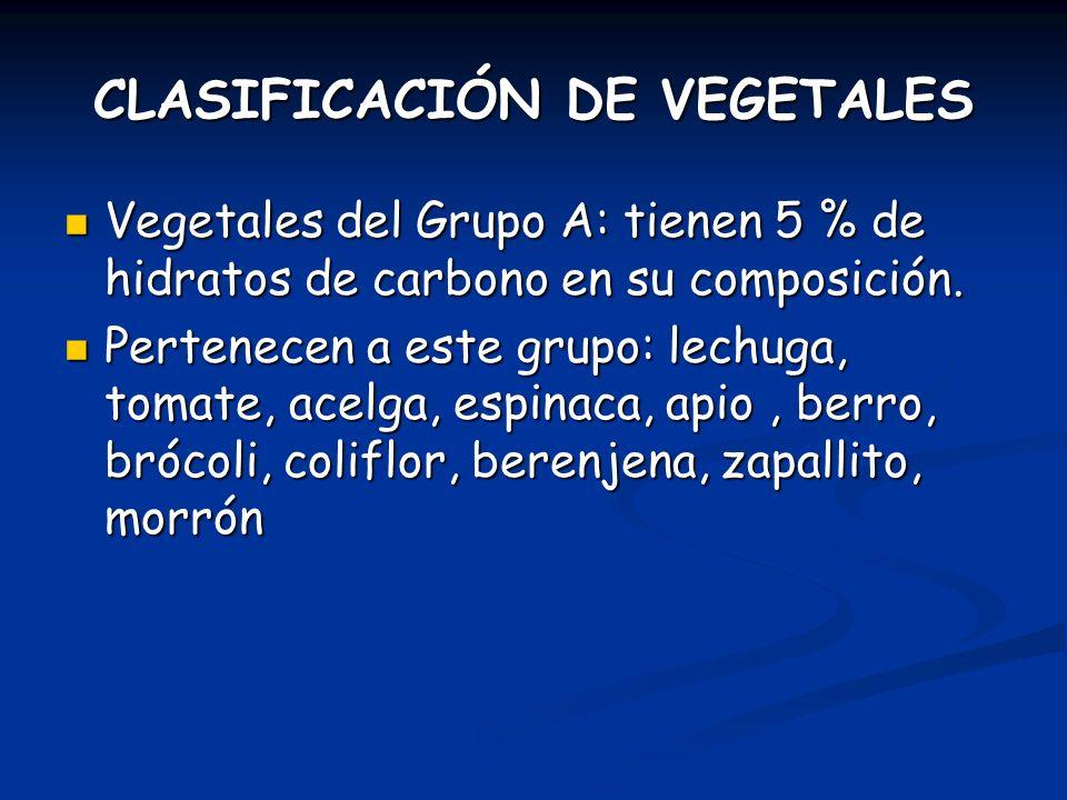 CLASIFICACIÓN DE VEGETALES Vegetales del Grupo A: tienen 5 % de hidratos de carbono en su composición. Vegetales del Grupo A: tienen 5 % de hidratos d