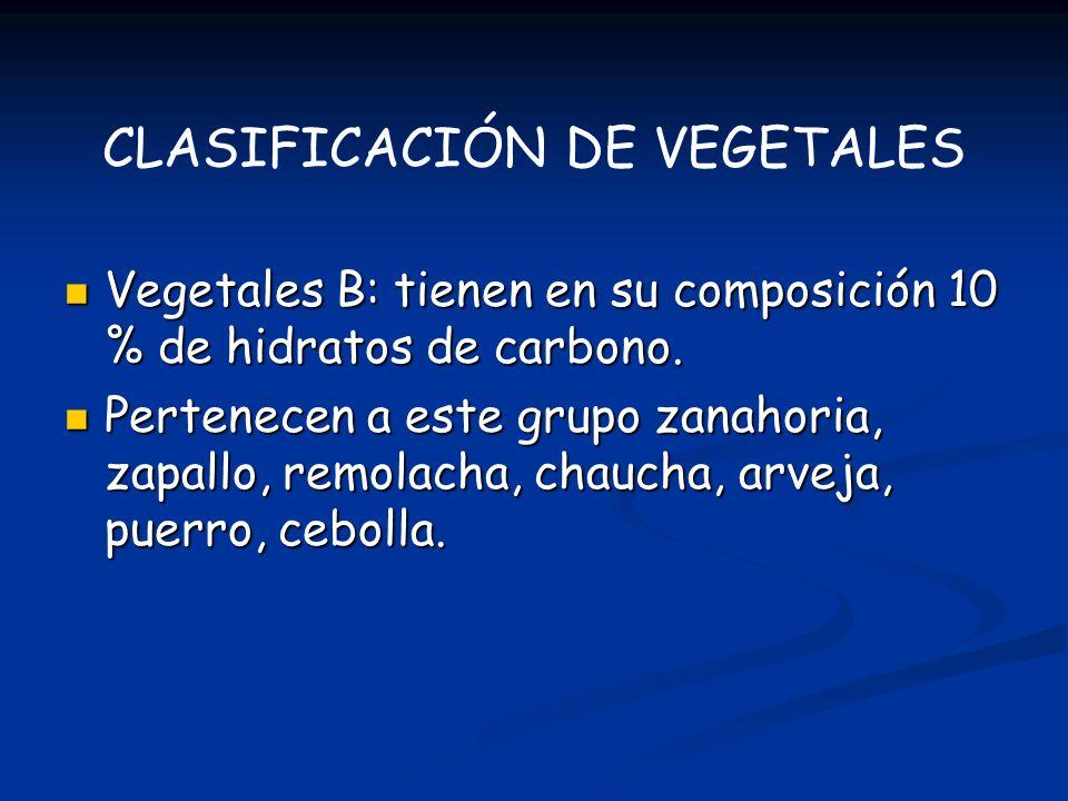 Vegetales B: tienen en su composición 10 % de hidratos de carbono. Vegetales B: tienen en su composición 10 % de hidratos de carbono. Pertenecen a est
