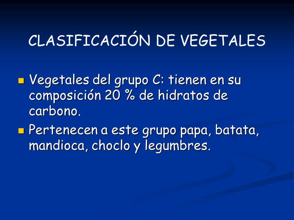 Vegetales del grupo C: tienen en su composición 20 % de hidratos de carbono. Vegetales del grupo C: tienen en su composición 20 % de hidratos de carbo
