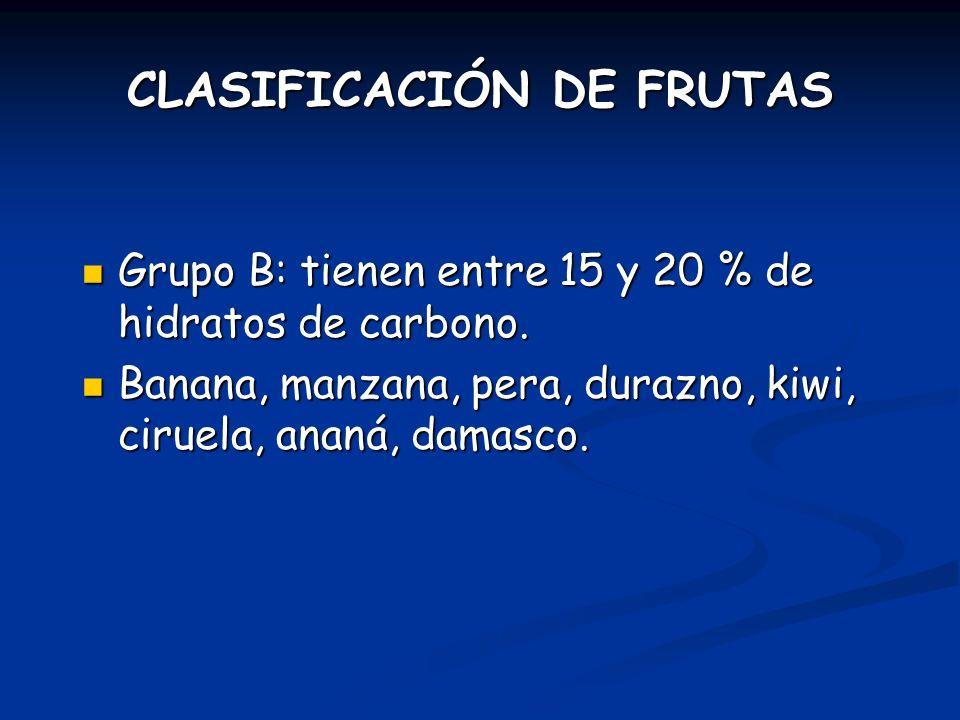 Grupo B: tienen entre 15 y 20 % de hidratos de carbono. Grupo B: tienen entre 15 y 20 % de hidratos de carbono. Banana, manzana, pera, durazno, kiwi,