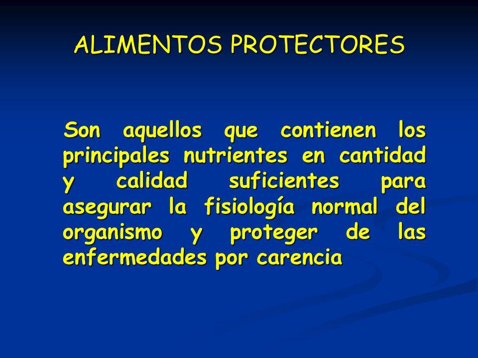 ALIMENTOS PROTECTORES Son aquellos que contienen los principales nutrientes en cantidad y calidad suficientes para asegurar la fisiología normal del o