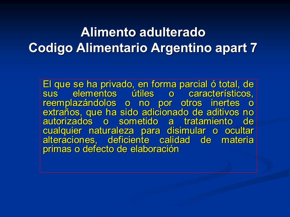 Alimento adulterado Codigo Alimentario Argentino apart 7 El que se ha privado, en forma parcial ó total, de sus elementos útiles o característicos, re