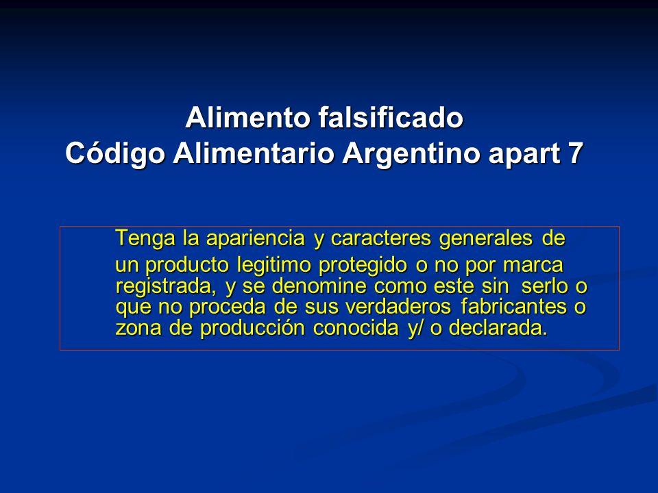 Alimento falsificado Código Alimentario Argentino apart 7 Tenga la apariencia y caracteres generales de Tenga la apariencia y caracteres generales de