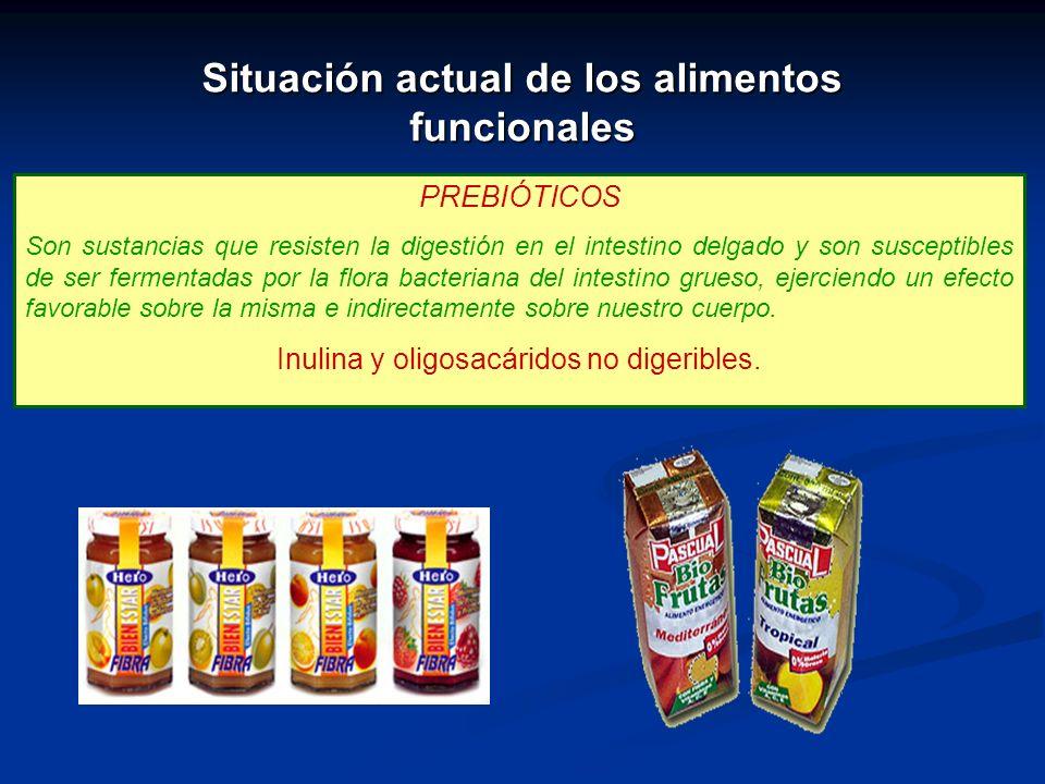 PREBIÓTICOS Son sustancias que resisten la digestión en el intestino delgado y son susceptibles de ser fermentadas por la flora bacteriana del intesti