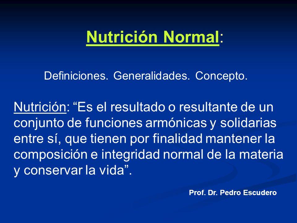 Nutrición Normal: Definiciones. Generalidades. Concepto. Nutrición: Es el resultado o resultante de un conjunto de funciones armónicas y solidarias en