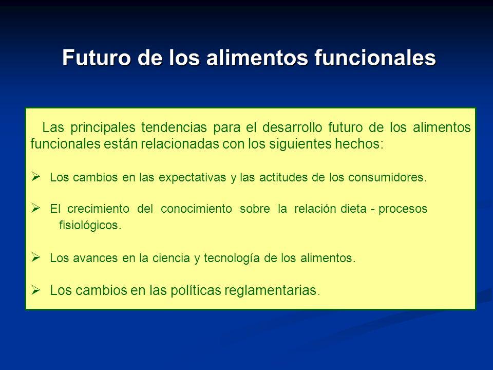 Futuro de los alimentos funcionales Las principales tendencias para el desarrollo futuro de los alimentos funcionales están relacionadas con los sigui