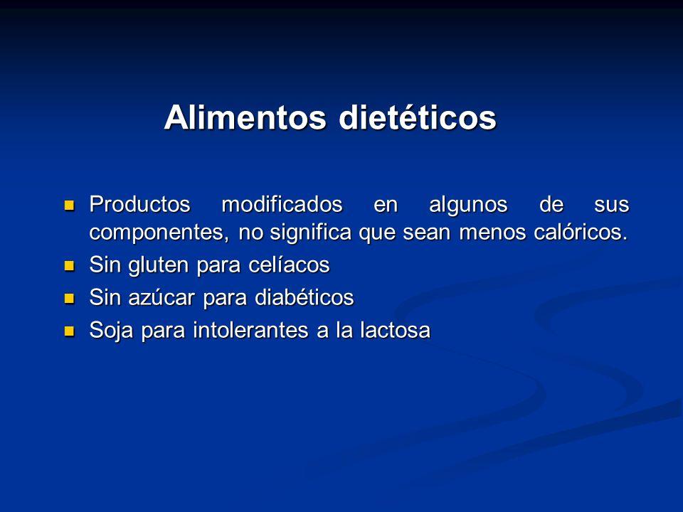 Alimentos dietéticos Productos modificados en algunos de sus componentes, no significa que sean menos calóricos. Productos modificados en algunos de s