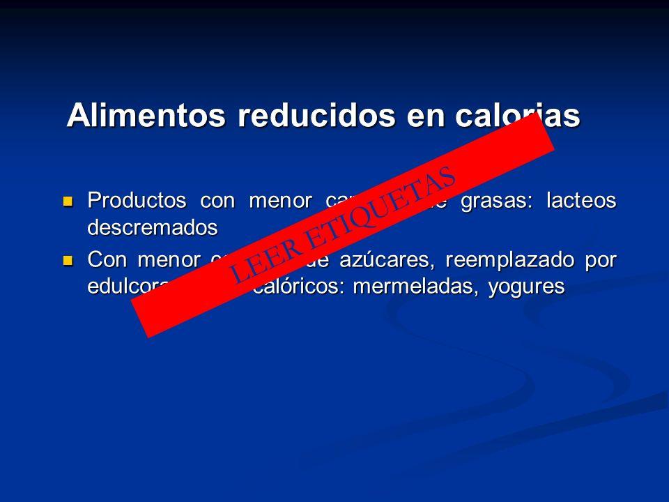 Alimentos reducidos en calorias Productos con menor cantidad de grasas: lacteos descremados Productos con menor cantidad de grasas: lacteos descremado