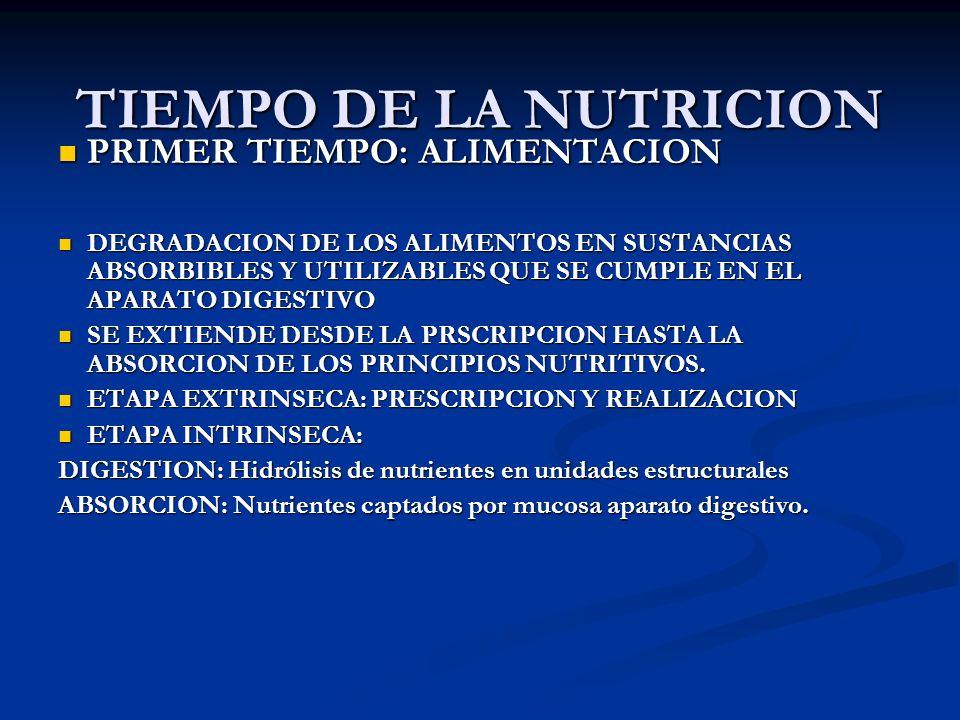TIEMPO DE LA NUTRICION PRIMER TIEMPO: ALIMENTACION PRIMER TIEMPO: ALIMENTACION DEGRADACION DE LOS ALIMENTOS EN SUSTANCIAS ABSORBIBLES Y UTILIZABLES QU