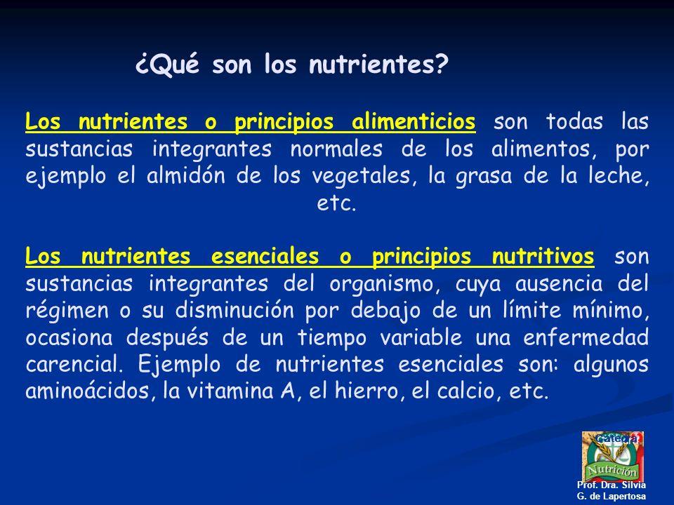 Los nutrientes o principios alimenticios son todas las sustancias integrantes normales de los alimentos, por ejemplo el almidón de los vegetales, la g