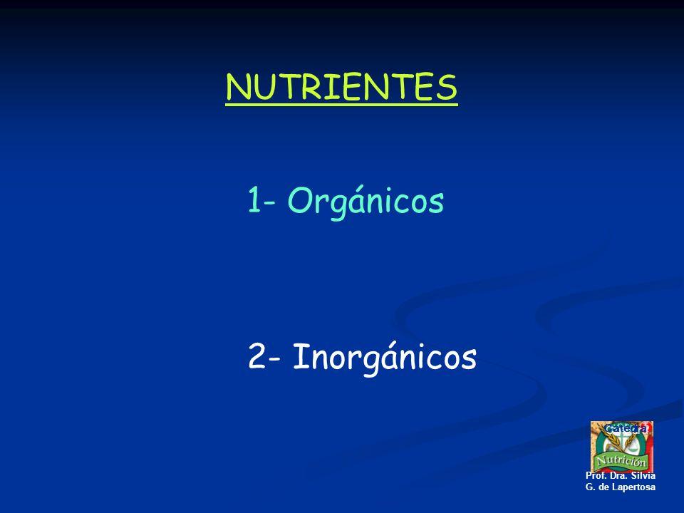 NUTRIENTES 1- Orgánicos 2- Inorgánicos Catedra Prof. Dra. Silvia G. de Lapertosa