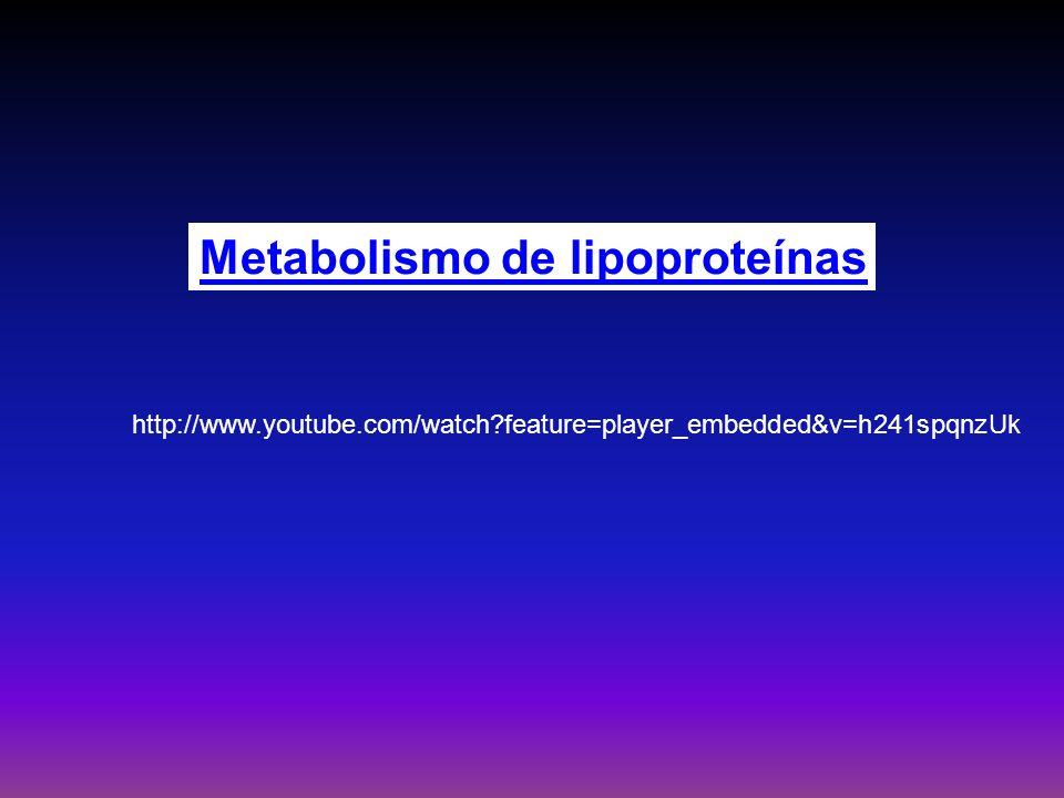 Metabolismo de lipoproteínas http://www.youtube.com/watch?feature=player_embedded&v=h241spqnzUk