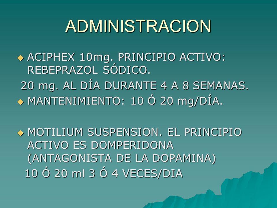 ADMINISTRACION ACIPHEX 10mg. PRINCIPIO ACTIVO: REBEPRAZOL SÓDICO. ACIPHEX 10mg. PRINCIPIO ACTIVO: REBEPRAZOL SÓDICO. 20 mg. AL DÍA DURANTE 4 A 8 SEMAN