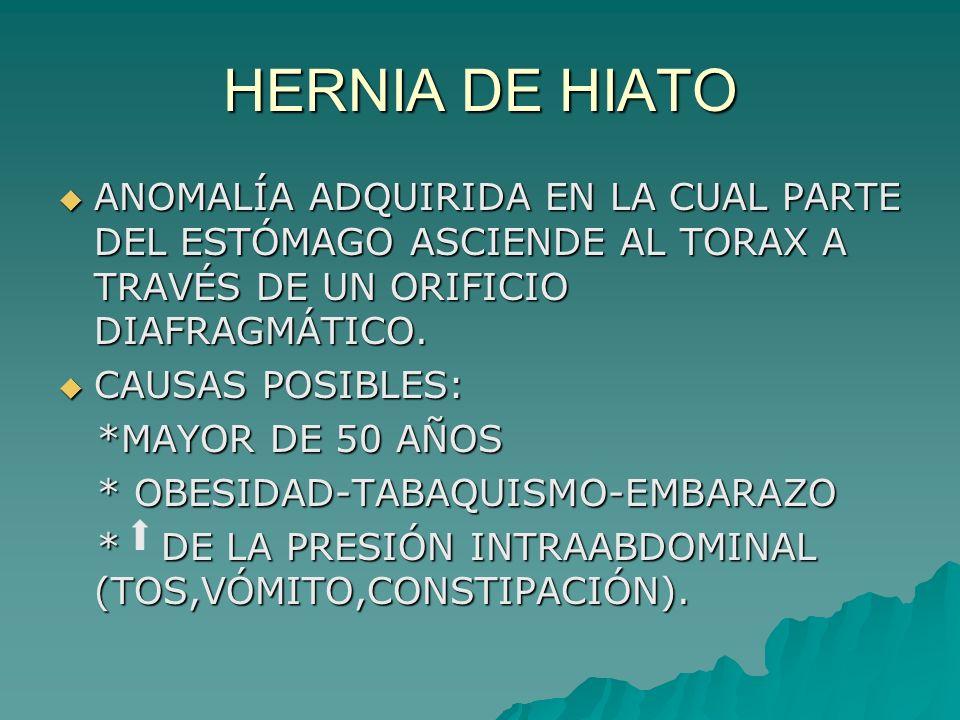 HERNIA DE HIATO ANOMALÍA ADQUIRIDA EN LA CUAL PARTE DEL ESTÓMAGO ASCIENDE AL TORAX A TRAVÉS DE UN ORIFICIO DIAFRAGMÁTICO. ANOMALÍA ADQUIRIDA EN LA CUA