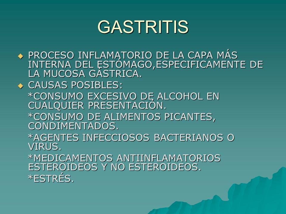 GASTRITIS PROCESO INFLAMATORIO DE LA CAPA MÁS INTERNA DEL ESTÓMAGO,ESPECIFICAMENTE DE LA MUCOSA GÁSTRICA. PROCESO INFLAMATORIO DE LA CAPA MÁS INTERNA
