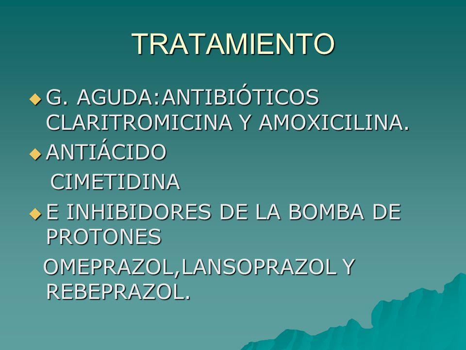 TRATAMIENTO G. AGUDA:ANTIBIÓTICOS CLARITROMICINA Y AMOXICILINA. G. AGUDA:ANTIBIÓTICOS CLARITROMICINA Y AMOXICILINA. ANTIÁCIDO ANTIÁCIDO CIMETIDINA CIM