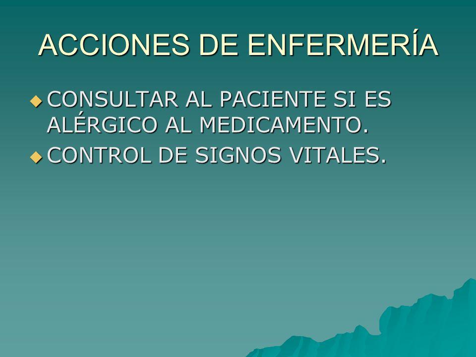 ACCIONES DE ENFERMERÍA CONSULTAR AL PACIENTE SI ES ALÉRGICO AL MEDICAMENTO. CONSULTAR AL PACIENTE SI ES ALÉRGICO AL MEDICAMENTO. CONTROL DE SIGNOS VIT
