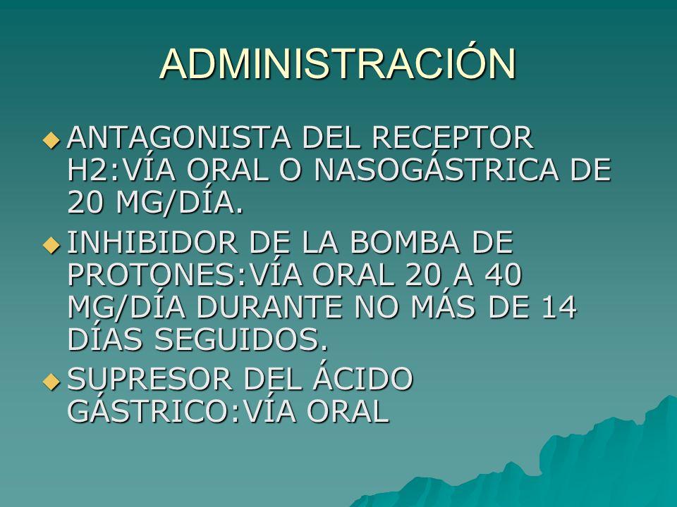ADMINISTRACIÓN ANTAGONISTA DEL RECEPTOR H2:VÍA ORAL O NASOGÁSTRICA DE 20 MG/DÍA. ANTAGONISTA DEL RECEPTOR H2:VÍA ORAL O NASOGÁSTRICA DE 20 MG/DÍA. INH