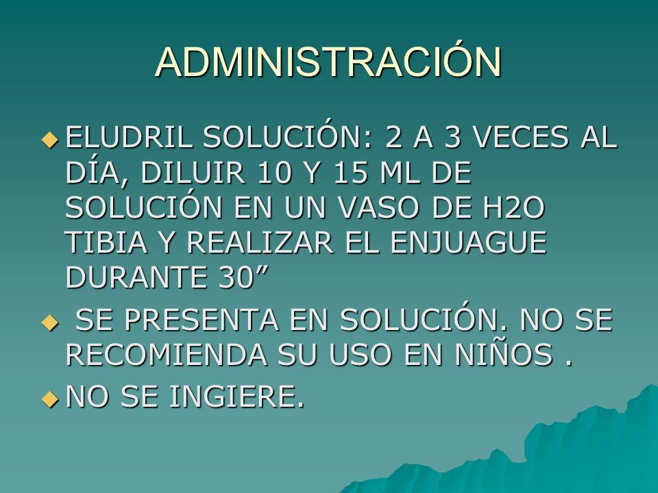 ADMINISTRACIÓN ELUDRIL SOLUCIÓN: 2 A 3 VECES AL DÍA, DILUIR 10 Y 15 ML DE SOLUCIÓN EN UN VASO DE H2O TIBIA Y REALIZAR EL ENJUAGUE DURANTE 30 ELUDRIL S