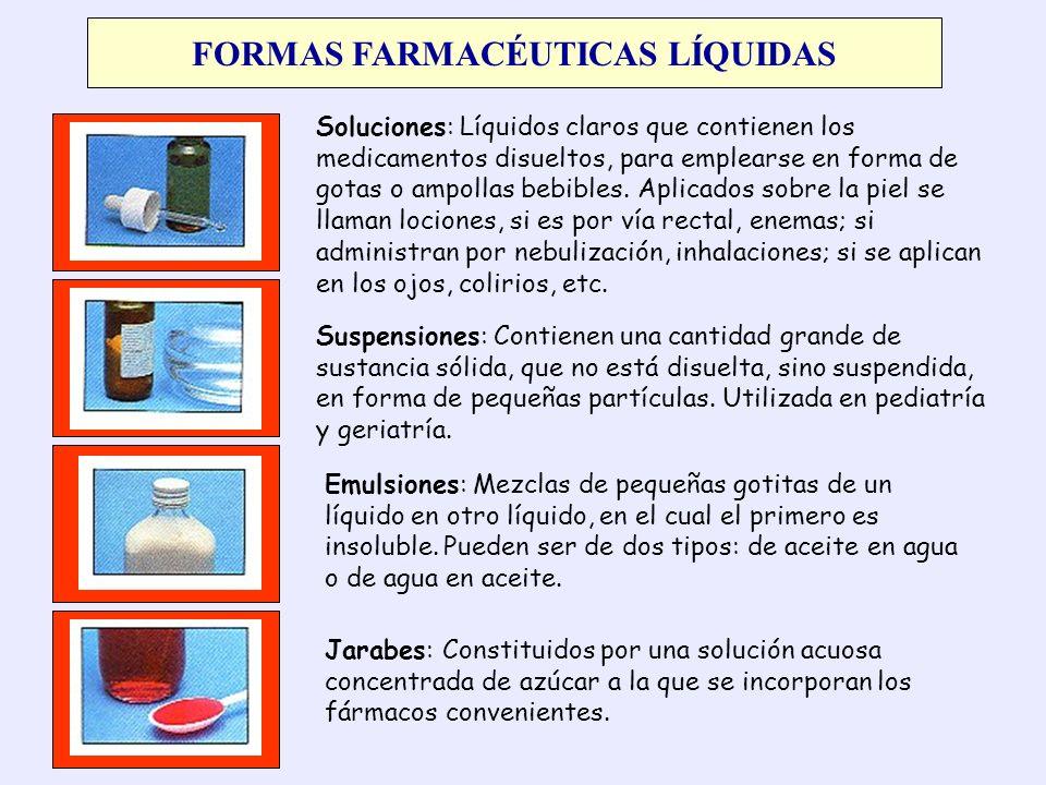 FORMAS FARMACÉUTICAS LÍQUIDAS Soluciones: Líquidos claros que contienen los medicamentos disueltos, para emplearse en forma de gotas o ampollas bebibl