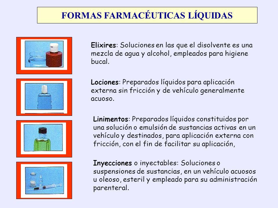 FORMAS FARMACÉUTICAS LÍQUIDAS Elixires: Soluciones en las que el disolvente es una mezcla de agua y alcohol, empleados para higiene bucal. Lociones: P