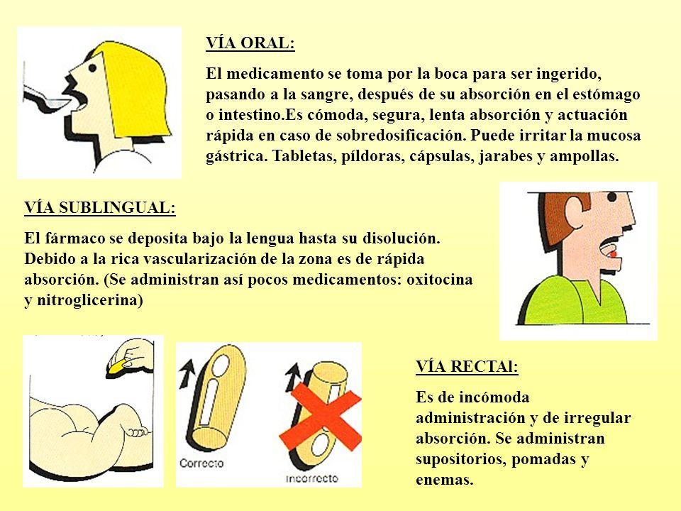 VÍA ORAL: El medicamento se toma por la boca para ser ingerido, pasando a la sangre, después de su absorción en el estómago o intestino.Es cómoda, seg