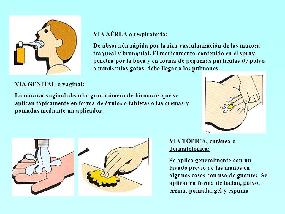 VÍA AÉREA o respiratoria: De absorción rápida por la rica vascularización de las mucosa traqueal y bronquial. El medicamento contenido en el spray pen