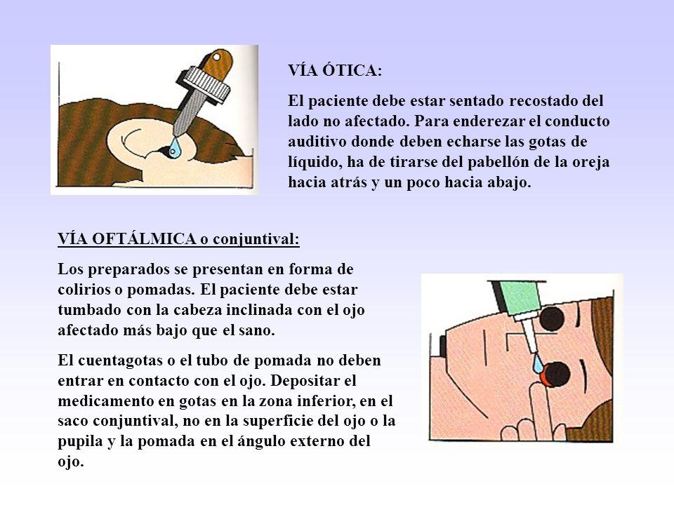 VÍA ÓTICA: El paciente debe estar sentado recostado del lado no afectado. Para enderezar el conducto auditivo donde deben echarse las gotas de líquido