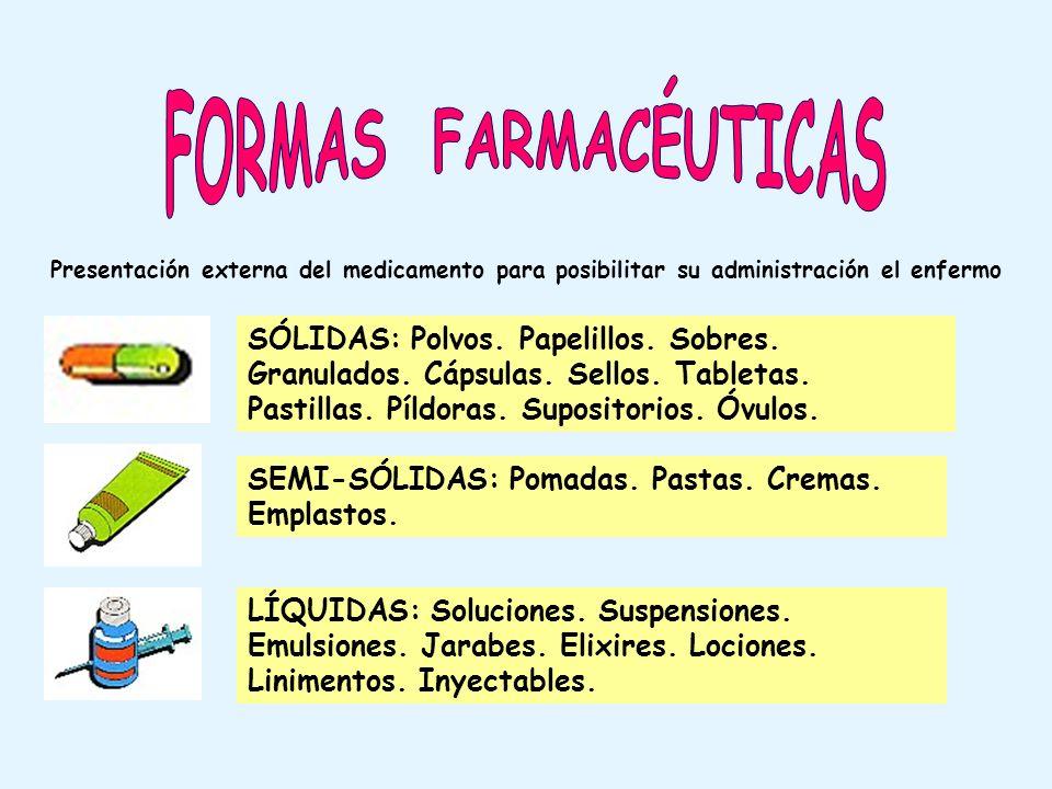 Presentación externa del medicamento para posibilitar su administración el enfermo SÓLIDAS: Polvos. Papelillos. Sobres. Granulados. Cápsulas. Sellos.