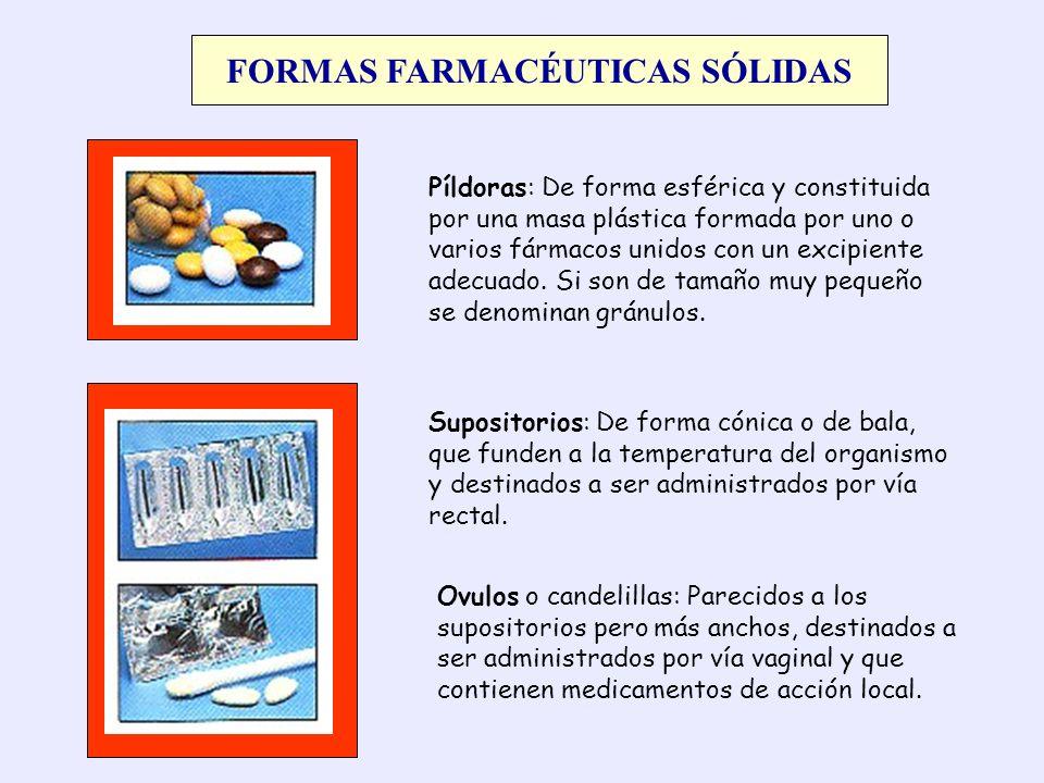 FORMAS FARMACÉUTICAS SÓLIDAS Píldoras: De forma esférica y constituida por una masa plástica formada por uno o varios fármacos unidos con un excipient