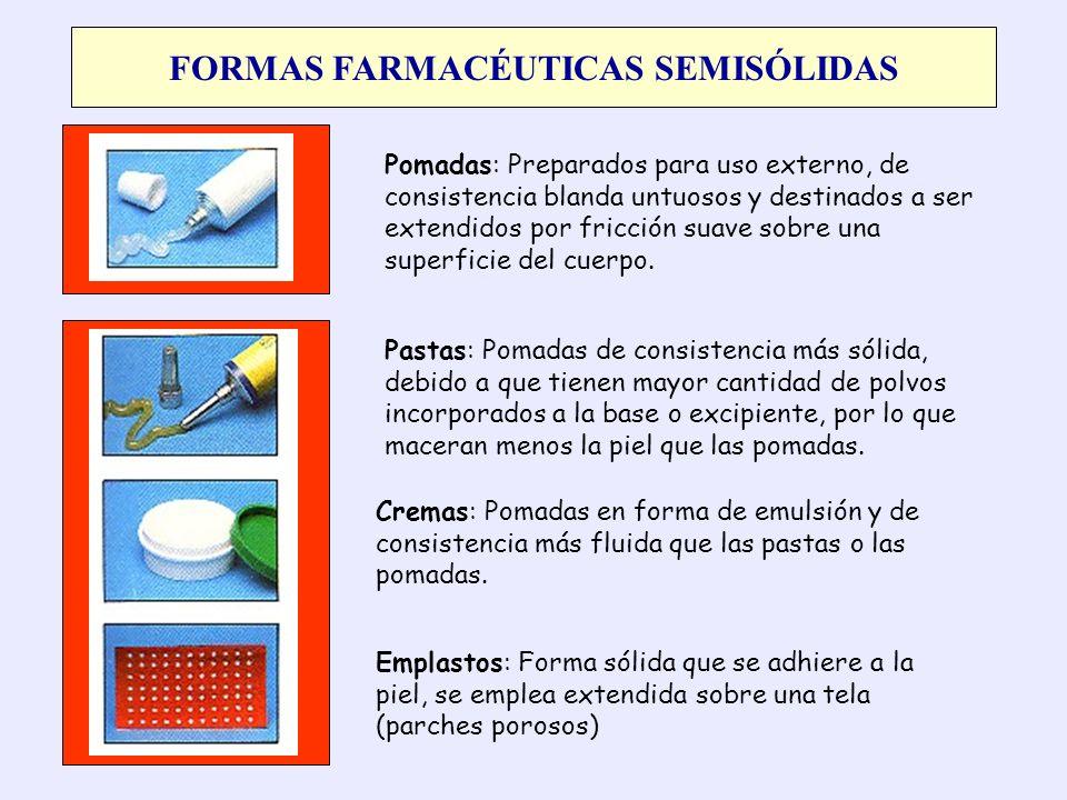 FORMAS FARMACÉUTICAS SEMISÓLIDAS Pomadas: Preparados para uso externo, de consistencia blanda untuosos y destinados a ser extendidos por fricción suav