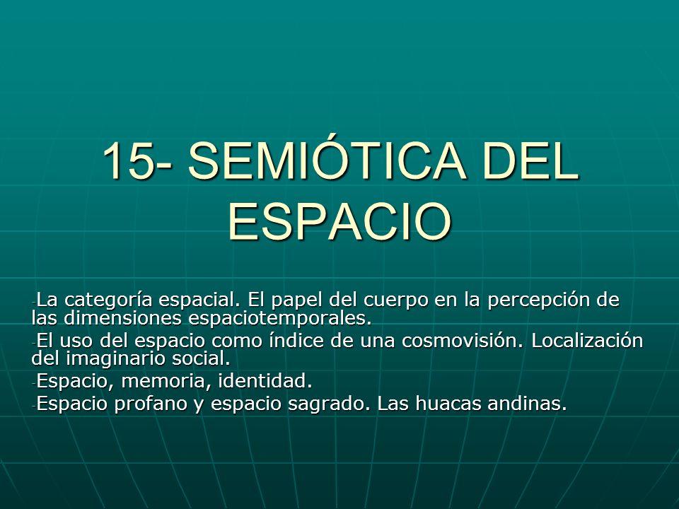 15- SEMIÓTICA DEL ESPACIO - La categoría espacial. El papel del cuerpo en la percepción de las dimensiones espaciotemporales. - El uso del espacio com