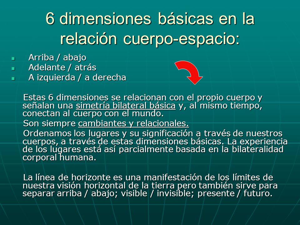 6 dimensiones básicas en la relación cuerpo-espacio: Arriba / abajo Arriba / abajo Adelante / atrás Adelante / atrás A izquierda / a derecha A izquier